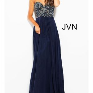 JVN Jovani blue beaded strapless prom pageant gown